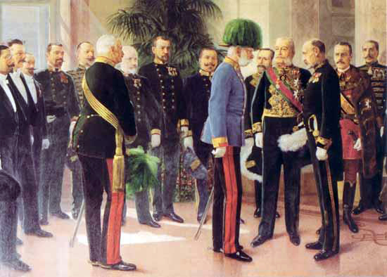 Emperor Franz Joseph visits the recently completed Household, Court and State Archives