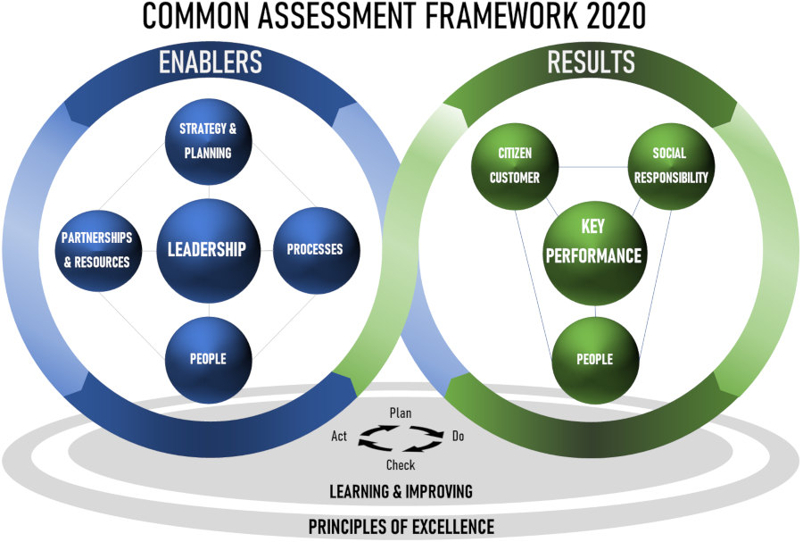 "Grafik des Qualitätsmanagement-Tools ""Common Assessment Framework 2020"""