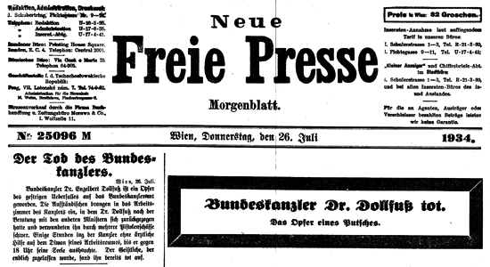 "Cover of the ""Freie Presse"" - Dollfuß's death"