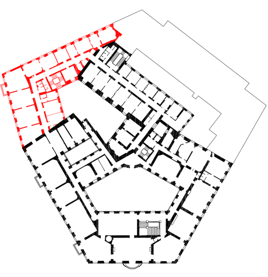 Plan: the extensions toward Löwelstraße and Metastasiogasse